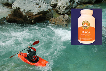 photo of kayaker and maca supplement